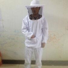 NEW White Beekeeping Full Body Suit w/ Veil Smock Bee Suit Equip Top + Pants Set
