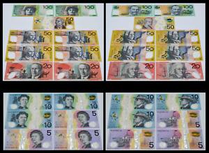 2008-17 Australia Dollars 2-100, 5-50, 2-20, 3-10, 3-5 Polymer Banknotes AU/Circ
