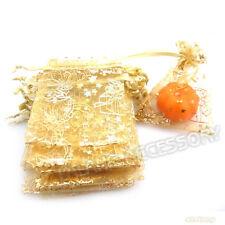 50pcs Wholesale Yellow XMAS Gift Boxes Organza Gift Bags Wedding Favours Bulk FW