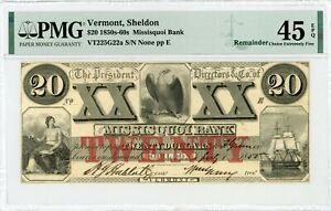 1855 $20 The Missisquoi Bank - Sheldon, VERMONT Note PMG Ch.XF 45 EPQ