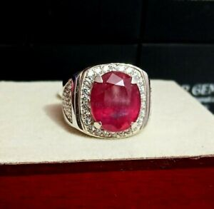 Natural Ruby Gemstone with 925 Sterling Silver Ring for Men's