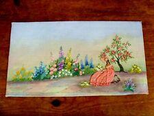 EXQUISITE VINTAGE HAND EMBROIDERED PICTURE PANEL ~ CRINOLINE LADY COTTAGE GARDEN