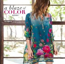 NWT JOHNNY WAS 100% SILK HEAVEN LONG TUNIC TOP COLORFUL SZ 2X may fit 3X
