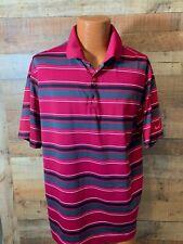 Mens L Large Nike Pink Gray Stripe Golf Tour Performance Polo S/S Dri Fit