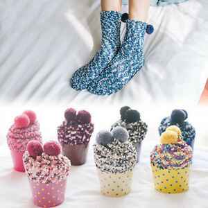 Women Coral Fleece Bed Socking Thermal Lovely Cupcake Soft Socks Xmas Gifts