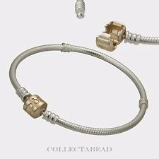 Authentic Pandora Silver & 14K Gold Pandora Lock Bracelet 7.1 590702HG-18