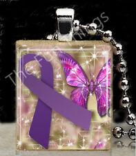 Purple Ribbon Scrabble Tile Pendant Jewelry Domestic Abuse Awareness Support B