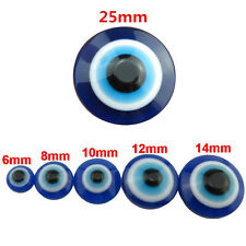 6/8/10/12/14/25mm Loose Flatback Cameo Bead Cabochon Blue Acrylic Evil Eye