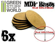 6x MDF Bases - AOS Oval 60x35mm - Thickness 3mm Basing Laser Cut Wargames