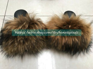 Max Large XXL Natural Real Raccoon Fur Slides Slippers Sandals Shoes Sliders