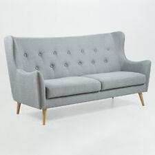 Sofa 3-Sitzer Kamma Retro Couch Polstermöbel Ohrensofa in Stoff hellgrau 201 cm