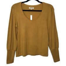 NWT Madewell Small Puff-Sleeve Scoop Neck Top Mustard Color Soft Cozy Romantic