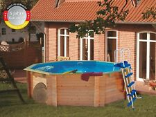 Schwimmbecken Holz Pool 4,00x1,20m Folie 0,6mm blau Komplettset Pool Holzbecken