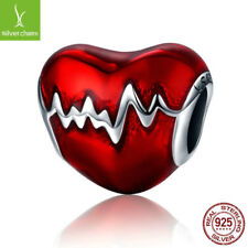 New Arrival 925 Sterling Love Heart  Red Enamel Beads fit Charm silver Bracelets