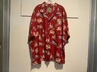 Joe Marlin Men's Shirt 4x Short Sleeves Button Up Hawaiian Maroon Leaf Floral