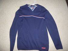 Tommy Jeans men's LG V-neck blue sweater w red white and blue stripe