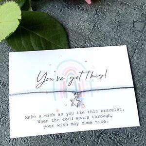 you've got this Rainbow Wish Bracelet Card String Star Charm Friends Gift x1