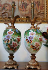 Pair of Urn Ewer Antique Lamps   Painted porcelain with Ornate Features