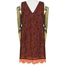 MSGM Orange Lace Sheer Black Mesh Chiffon Overlay Mini Dress IT40 UK8