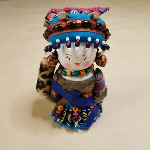 """Rare Vintage Collectible Chinese Ethnic Minority Costume Doll, 5.5"""" Tall"""