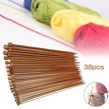 36Pcs 18 Size 1 Set Carbonized Bamboo Single Pointed Crochet Knitting Needles GA