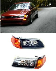 Fit For 93 97 Toyota Corolla JDM Black Headlights Lamps LH RH CRYSTAL GLASS