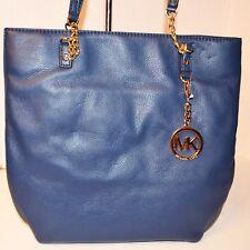 Michael Kors Jet Set Chain Tote Leather Navy Bag Handbag Bolsa Purse MRSP$248
