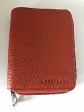 New! Longchamp Le Foulonne Pebble Leather Compact Zip Around Wallet Burnt Orange
