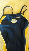 New Speedo Blue Navy Gold Yellow Swimsuit Racing Size 2 Size 28