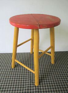 "Vintage Stool Primitive NM SARGENT'S SONS 18"" Tall 13"" Seat Orange/Yellow Paint"
