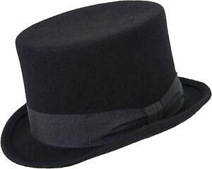 schwarzer Zylinder mit Hutband Hut Filzhut Wolle