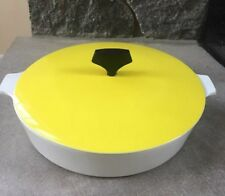 "Vintage Corning Ware 10"" White Casserole Skillet with Yellow Lid"
