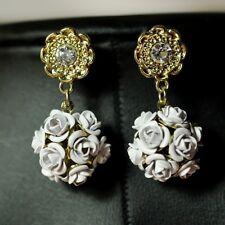 Boucles d`Oreilles Fleur Blanche Ronde Retro Ancien Style Mariage Cadeau DD 3