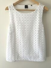 David Lawrence Sleeveless Top Size M White Jersey Embroidered Casual Work