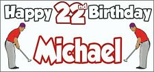 Golf Golfer Mens 22nd Birthday Banner x2 Party Decorations Personalised ANY NAME