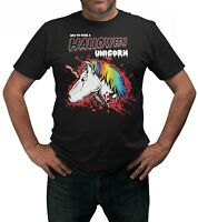 How To Make A Halloween Unicorn T-Shirt Adults Sizes Black 100% Cotton Shirt