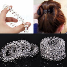 6x Clear Spiral Slinky Rubber Rope Hairband Elastic Rubber Hair Ties Hair Bobble