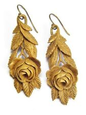 Wood Drop Earrings Roses c1870 Lovely Antique Victorian English Hand Carved