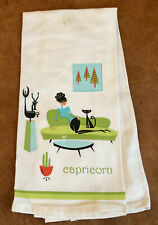 SHAG Josh Agle Capricorn  Zodiac Girl W/ Black Cat Bar, Kitchen Or Tea Towel New