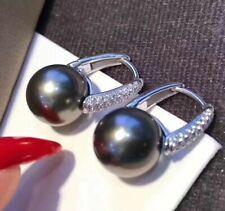 elegant 10-11mm tahitian round black pearl earring18k