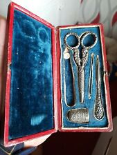 More details for  antique sterling silver etui sewing set