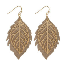 ROSE GOLD Faux Leather and Metal Leaf Design Earrings NWT