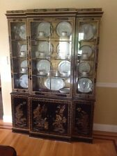 Drexel Ebonized Chinoiserie Asian China Cabinet Hutch Breakfront Curio Display