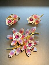 Vintage Pink Marquise Glass Flower Rhinestone  Pin Earrings Set