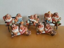10 x VINTAGE JAPANESE CLAY POTTERY GARDEN GNOMES - SITTING ON BENCHES RECLINING