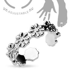 Adjustable Rhodium Plated Toe Ring / Mid Ring - Linked Daisy Design