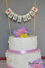 Mr & Mrs Wedding Cake Topper Mini Bunting Banner Topping Engagement Birthday