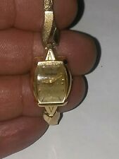 VINTAGE LADIES LONGINES 17 JEWELS WATCH IN 14K GOLD CASE- BAND IS 10K GF TOPS