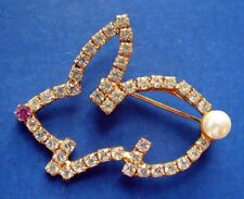 PIN Easter BUNNY Prong Set RHINESTONE Rabbit Faux Pearl OUTLINE Vtg Holiday Gold
