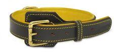 Huntington collar de cuero marrón de lujo del perro hecho a mano acolchada